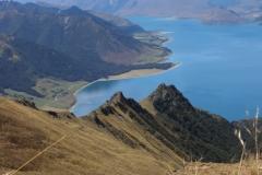 Track na Isthmus peak - Hawea Lake - při cestě dolu